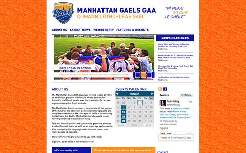 Screenshot of Home Page manhattangaels.com - Manhattan Gaels - captured Oct. 3, 2014