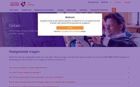 Screenshot of Contact Page eigenhuis.nl - Contact - Vereniging Eigen Huis - captured Oct. 22, 2018