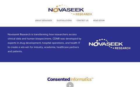 Screenshot of Home Page novaseekresearch.com - About Novaseek - captured July 8, 2018