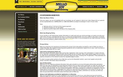 Screenshot of Support Page mellojoy.com - Mello Joy | Customer Service - captured Oct. 27, 2014