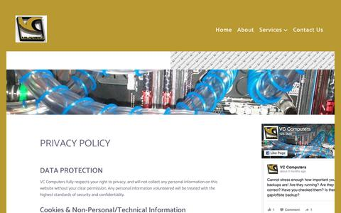 Screenshot of Privacy Page vccomputers.ie - Privacy Policy - VC Computers - captured Nov. 4, 2018