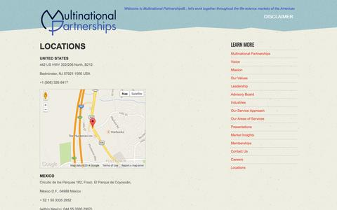 Screenshot of Locations Page multinationalpartnerships.com - Locations   Multinational Partnerships - captured Oct. 26, 2014
