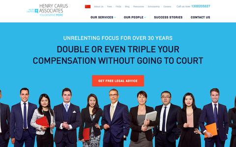 Screenshot of Home Page hcalawyers.com.au - Injury Compensation Claim Lawyers | Henry Carus + Associates - captured Jan. 28, 2016