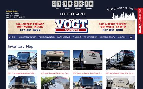 Screenshot of Site Map Page vogtrv.com - Inventorymap | Vogt RV Centers | Fort Worth Texas - captured Dec. 10, 2016