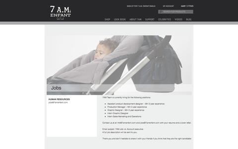 Screenshot of Jobs Page 7amenfant.com - JOBS   7 A.M. Enfant - captured Oct. 29, 2014