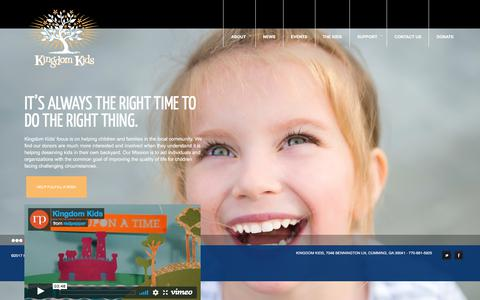 Screenshot of Home Page supportkingdomkids.com - Kingdom Kids | It's Always the Right Time to do the Right Thing - captured Oct. 17, 2017