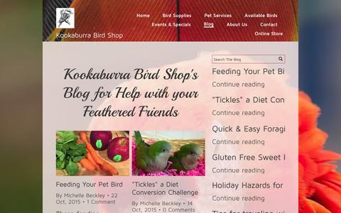 Screenshot of Blog kookshop.com - Home Page   Kookaburra Bird Shop, LLC   Michelle Beckley - captured Feb. 12, 2016