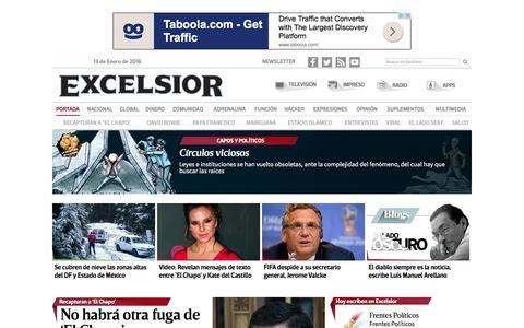 Screenshot of Home Page excelsior.com.mx - ExcŽlsior | El peri—dico de la vida nacional - captured Jan. 13, 2016