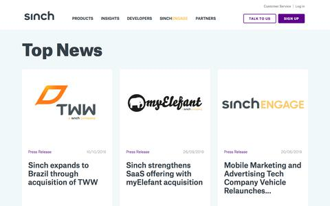 Screenshot of Press Page sinch.com - News Archive | Sinch | Enriching Engagement - captured Oct. 17, 2019