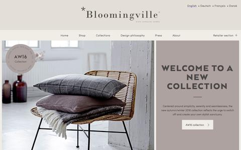 Screenshot of Home Page bloomingville.com - Bloomingville - Nordic home & interior design - captured Sept. 18, 2016