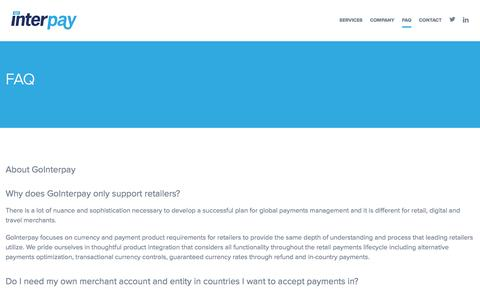 Screenshot of FAQ Page gointerpay.com - GoInterpay   Global Fraud Solutions   Payment Service Provider   PSP - captured Jan. 31, 2016
