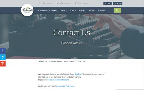 Screenshot of Contact Page bootsnall.com - Contact Us – BootsnAll - captured Sept. 22, 2018