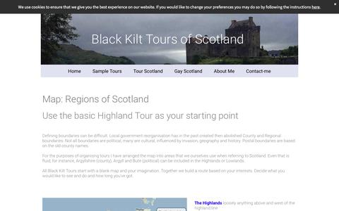 Screenshot of Maps & Directions Page black-kilt-tours.org - Map of the regions of Scotland - captured Feb. 12, 2018