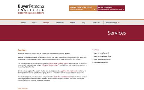 Screenshot of Services Page buyerpersona.com - Services - captured Oct. 11, 2017