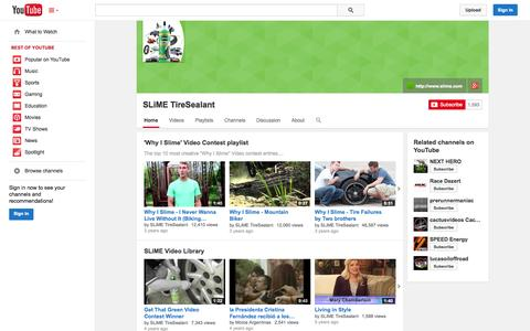 Screenshot of YouTube Page youtube.com - SLiME TireSealant  - YouTube - captured Oct. 25, 2014