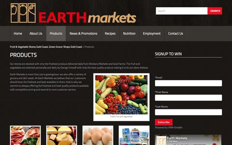 Screenshot of Products Page earthmarkets.com.au - Organic Fruit and Vegetables Products, freshest produce Cararra , Produce Market Robina, Earth Markets | Gold Coast, Australia - captured July 15, 2018