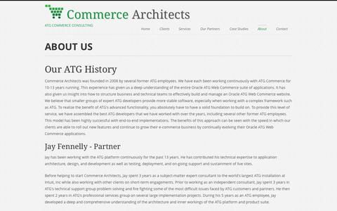 Screenshot of About Page commerce-architects.com - Commerce Architects | Oracle Web Commerce Consulting | About Us - captured Sept. 30, 2014