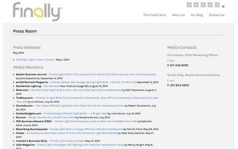 Screenshot of Press Page finallybulbs.com - Press Room   The Finally Light Bulb Company - captured Sept. 23, 2014