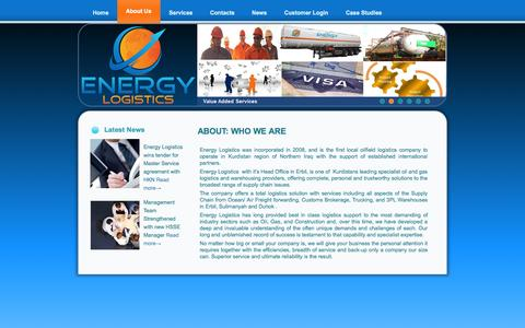 Screenshot of About Page energylogistics-iq.com - ENERGY LOGISTICS – IRAQ  » About: Who We Are - captured Oct. 2, 2014