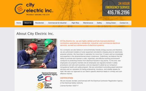 Screenshot of About Page cityelectricinc.ca - About | City Electric Inc. | Toronto and the GTA - captured Sept. 29, 2014