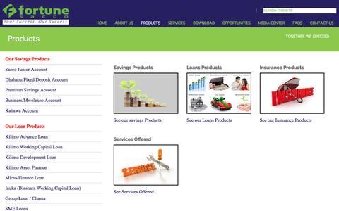 Screenshot of Products Page fortune.co.ke - Fortune Sacco - Your Success Our Success - captured Nov. 24, 2016