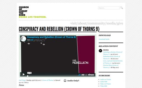 Screenshot of Press Page cck.org.uk - Conspiracy and Rebellion (Crown of Thorns 9) | Church of Christ the King, Brighton - captured July 30, 2017
