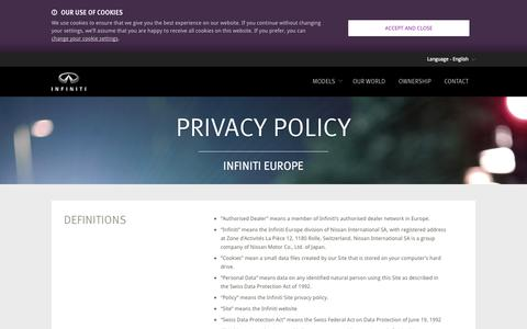 Screenshot of Privacy Page infiniti.eu - Privacy Policy - confidentiality and security - Infiniti - captured Sept. 19, 2014