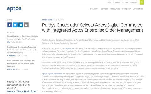 Screenshot of Team Page aptos.com - Purdys Chocolatier Selects Aptos Digital Commerce with Integrated Aptos Enterprise Order Management - Aptos - captured Feb. 20, 2020
