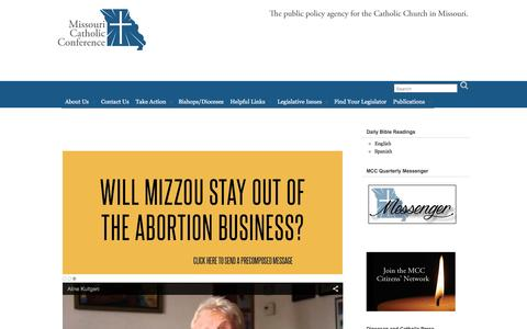 Screenshot of Home Page mocatholic.org - Missouri Catholic Conference – The public policy agency for the Catholic Church in Missouri - captured Feb. 14, 2016