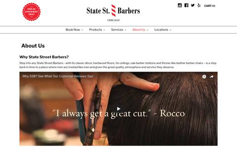 Screenshot of About Page statestreetbarbers.com - About the Premier Chicago Barbershop | State Street Barbers - captured Sept. 24, 2018