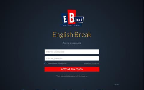 Screenshot of Login Page englishbreak.com.br - LogIn - English Break - captured July 19, 2018