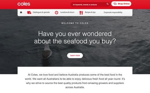 Screenshot of Home Page coles.com.au - Coles Supermarkets - captured June 1, 2019