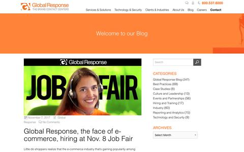 Screenshot of Pricing Page globalresponse.com - Global Response, the face of e-commerce, hiring at Nov. 8 Job Fair - Global Response - captured Feb. 20, 2020