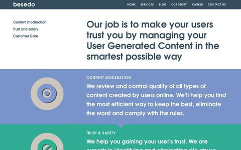 Screenshot of Services Page besedo.com - Content Moderation Services | Besedo - captured Sept. 30, 2014
