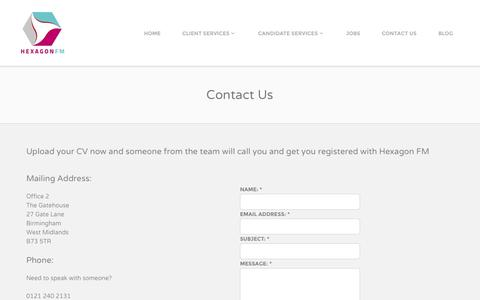 Screenshot of Contact Page hexagonfm.co.uk - Contact Hexagon FM Facility Management Recruitment - captured Nov. 2, 2014