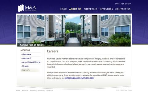 Screenshot of Jobs Page manda-partners.com - Careers | M&A Real Estate Partners - captured Oct. 3, 2014
