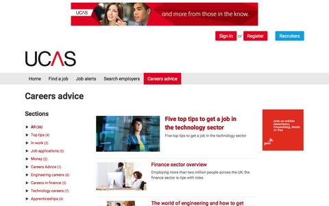 Screenshot of Jobs Page ucas.com - Articles and careers information on UCAS - captured May 25, 2017
