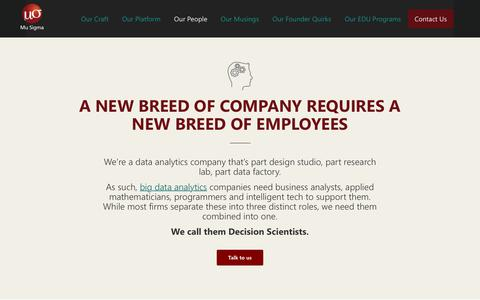 Screenshot of Team Page mu-sigma.com - Our decision scientists | A new breed in data analytics companies | Mu Sigma - captured Dec. 23, 2019