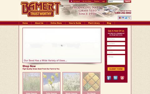 Screenshot of Home Page bamertseed.com - High quality native grass seed and other grass seed sales only at BamertSeed.com - captured Oct. 5, 2014