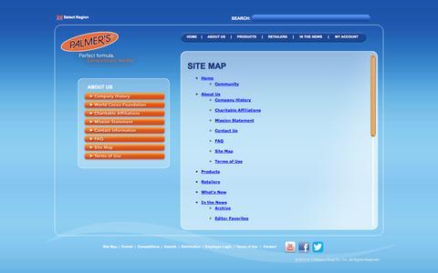 Screenshot of Site Map Page palmers.com - Palmer's - captured Sept. 24, 2014