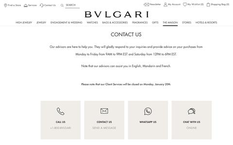 Screenshot of Contact Page bulgari.com - Contact Us | Customer Care | Bvlgari - captured Feb. 7, 2020