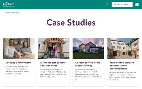 Screenshot of Case Studies Page nu-heat.co.uk - Case Studies | Nu-Heat - captured July 12, 2019