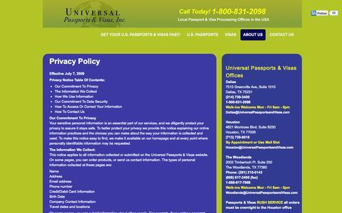 Screenshot of Privacy Page universalpassportsandvisas.com - Universal Passports & Visas | 1-800-831-2098 | Privacy Policy | Universal Passports and Visas | 1-800-831-2098 | China Visas | India Visas | Russia Visas | Saudi Arabia Visas | US Passport Services - captured Sept. 30, 2014