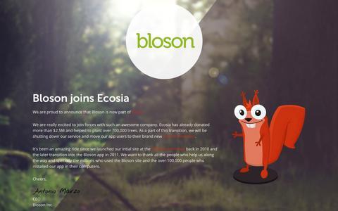 Screenshot of Home Page bloson.com - Bloson - captured Sept. 13, 2014