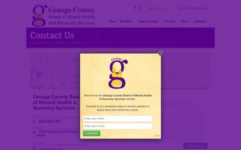Screenshot of Contact Page geauga.org - Geauga County Board of Mental Health and Recovery Services | Contact Us - captured Oct. 28, 2016