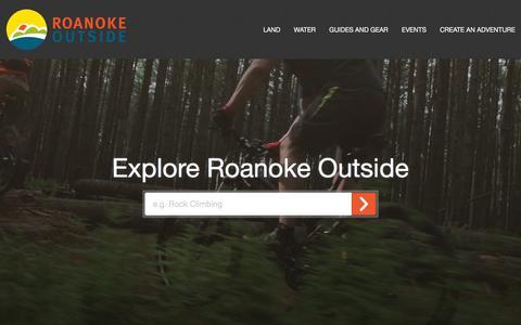 Screenshot of Home Page roanokeoutside.com - Outdoor Activities, Events & Advice   Roanoke Outside   Trails - captured Feb. 27, 2016