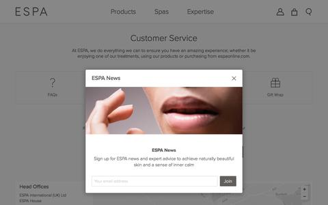 Screenshot of Support Page espaskincare.com - How To Contact Us  | ESPA - captured March 30, 2017