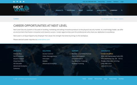 Screenshot of Jobs Page nlss.com - Careers – Next Level Security Systems - captured Oct. 18, 2018