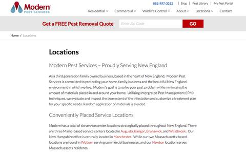 Screenshot of Locations Page modernpest.com - Pest Control Service Areas in ME, MA & NH | Modern Pest - captured Oct. 20, 2017