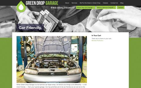 Screenshot of Services Page greendropgarage.com - Car Friendly. | Green Drop Garage - captured Dec. 14, 2015